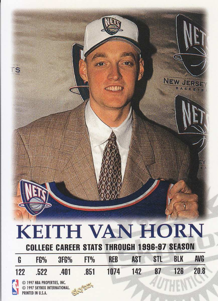 1997 98 Skybox Premium Rookie Autografo Keith Van Horn Nets