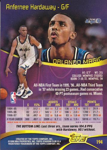 1997-98 stadium club anfernee hardaway magic