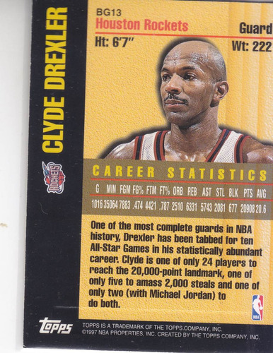 1997-98 topps bound for glory clyde drexler rockets