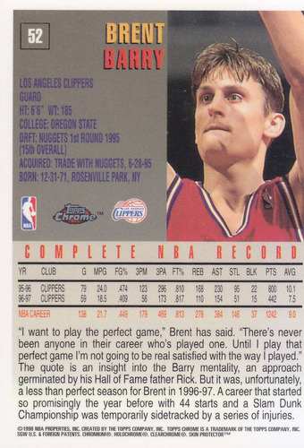 1997-98 topps chrome brent barry clippers