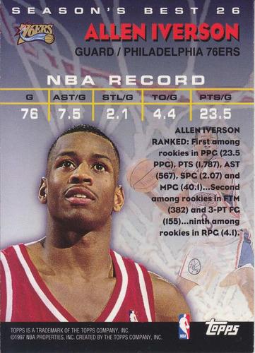 1997-98 topps season's best hot shots allen iverson sixers