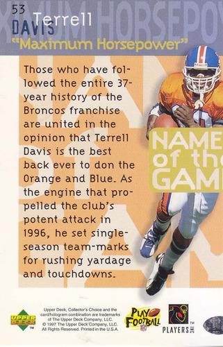 1997 choice names game terrell davis rb broncos