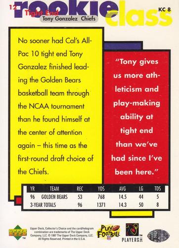 1997 collector's choice rookie class tony gonzalez te chiefs