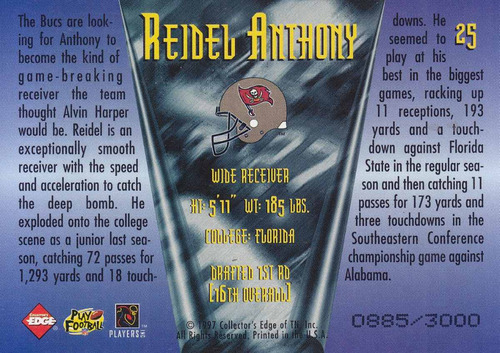 1997 edge masters rookie crucibles reidel anthony wr buccs