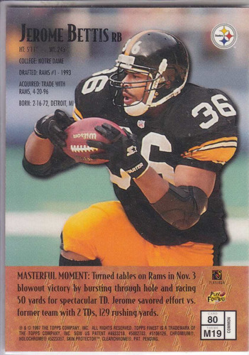 1997 finest bronze masters jerome bettis rb steelers