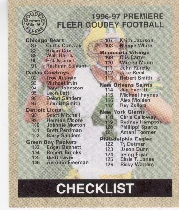 1997 fleer goudey cl brett favre green bay packers