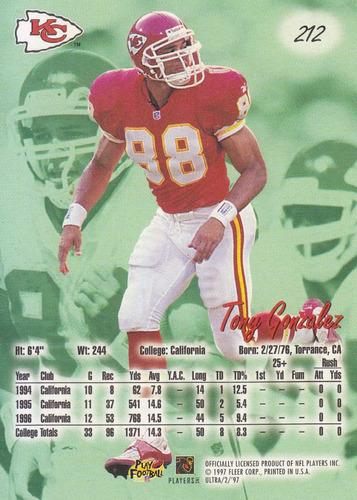 1997 fleer ultra rookie tony gonzalez te chiefs