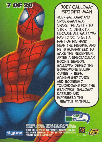 1997 metal universe marvel spiderman joey galloway seahawks