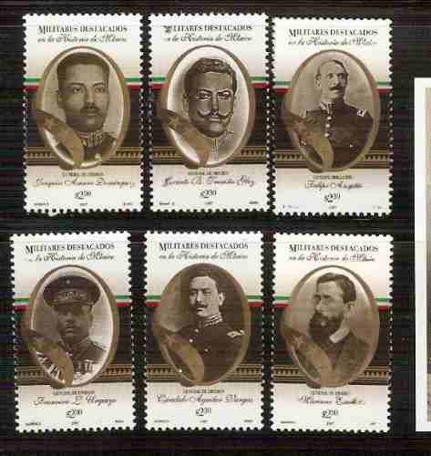 1997 militares destacados en  historia méxico serie/6 sellos