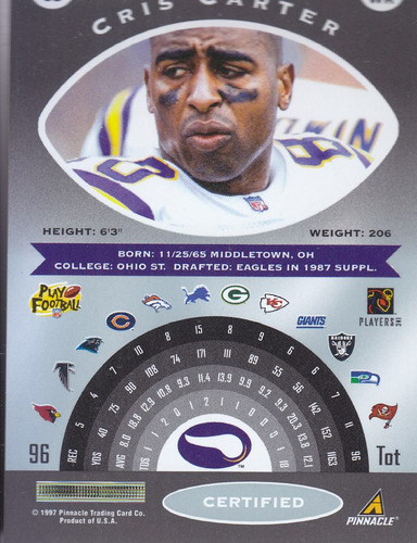 1997 pinnacle certified cris carter wr vikings