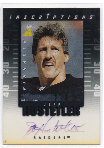 1997 pinnacle inscriptions autografo jeff hostetler raiders