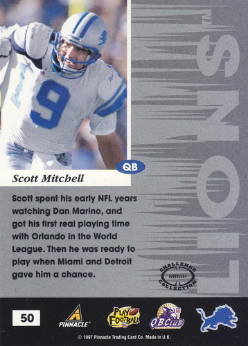 1997 pinnacle inscriptions challenge coll scott mitchell qb