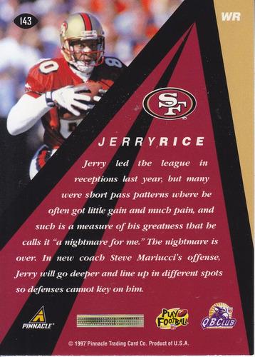 1997 pinnacle xpress peak performer jerry rice wr 49ers