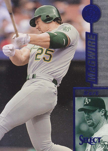 1997 select blue mark mcgwire 1b athletics