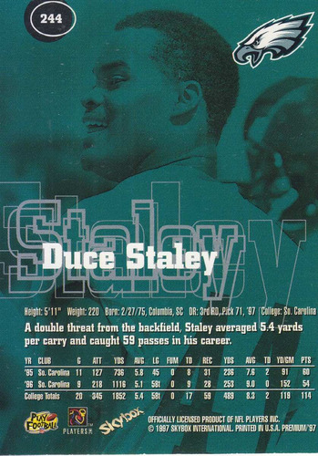 1997 skybox premium rookie duce staley rb eagles