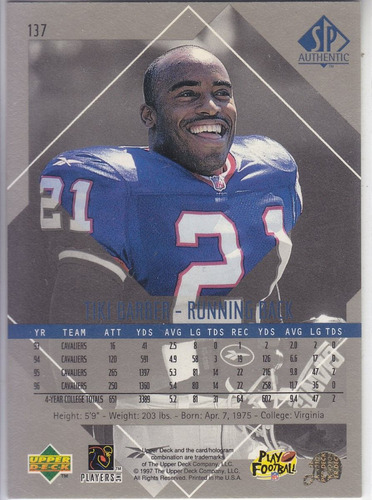 1997 sp authentic rookie tiki barber rb giants