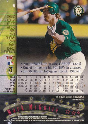 1997 stadium club mark mcgwire 1b athletics