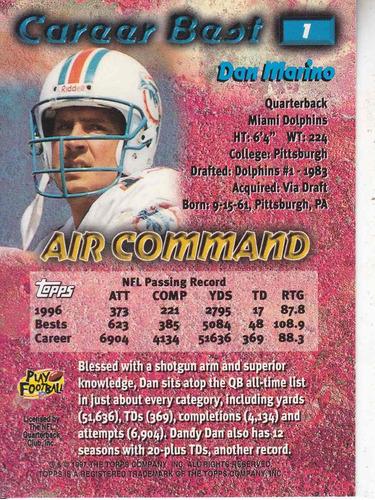 1997 topps career best air command dan marino qb dolphins