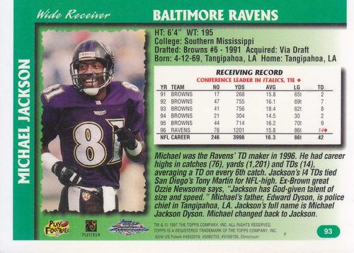 1997 topps chrome michael jackson wr ravens