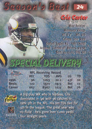 1997 topps chrome season's best special delivery cris carter