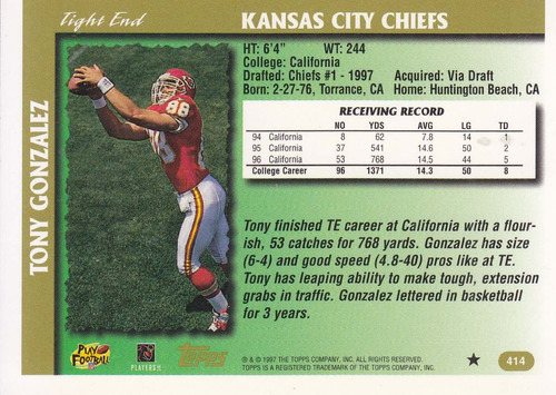1997 topps draft pick rookie sp tony gonzalez te chiefs