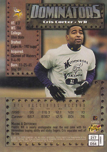 1997 topps finest bronze dominators cris carter wr vikings