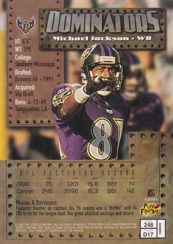 1997 topps finest bronze dominators michael jackson ravens
