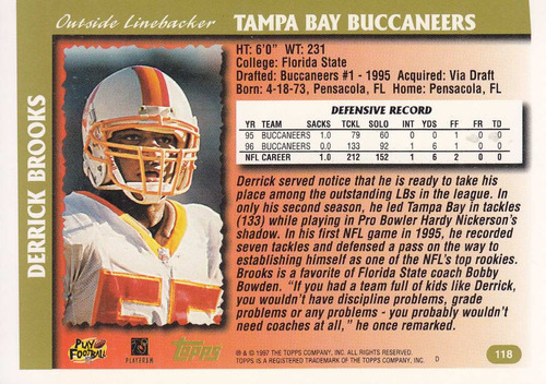1997 topps minted in canton derrick brooks lb buccs