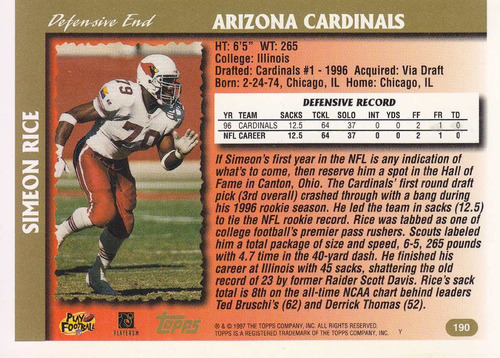 1997 topps minted in canton simeon rice de cardinals