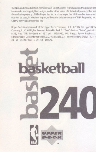 1997 ud choice italian sticker travis best pacers #240