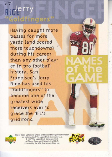 1997 ud collector's choice goldfingers jerry rice wr 49ers
