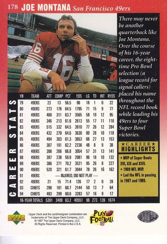 1997 upper deck legends joe montana qb 49ers