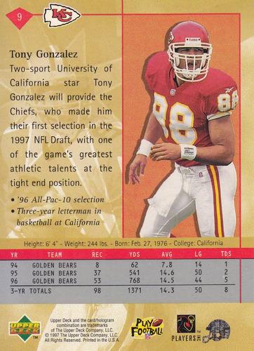 1997 upper deck star rookie tony gonzalez te chiefs