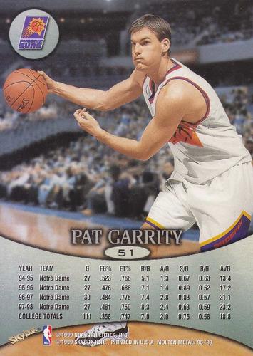 1998-99 skybox molten metal rookie pat garrity suns