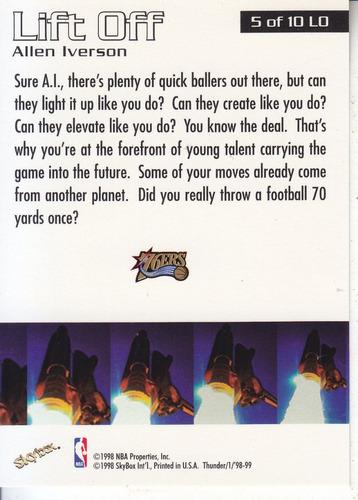 1998-99 skybox thunder lift off atomic refrac allen iverson