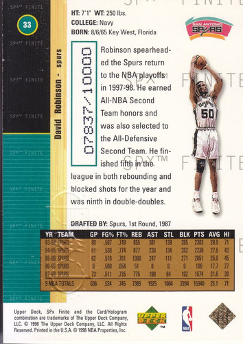 1998-99 spx finite david robinson spurs /10000