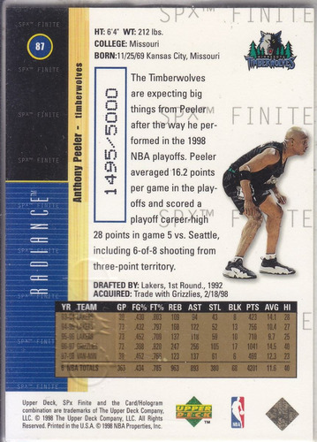 1998-99 spx finite radiance anthony peeler twolves /5000
