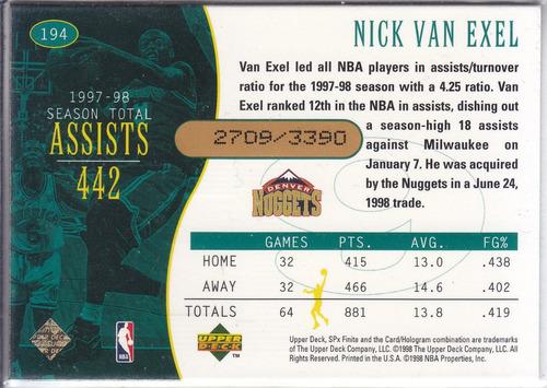 1998-99 spx finite top flight nick van exel lakers /3390