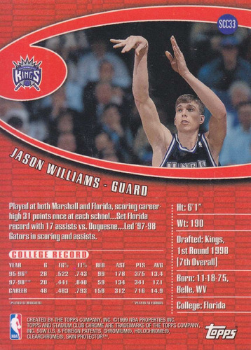 1998-99 stadium club chrome rookie jason williams kings