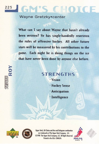 1998-99 ud choice gm's wayne gretzky rangers
