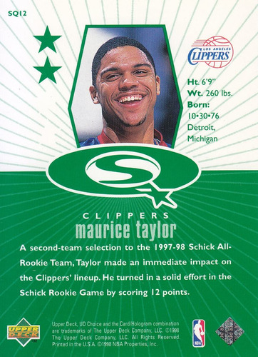 1998-99 ud choice starquest green maurice taylor clippers