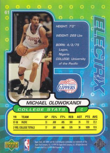 1998-99 ud ionix electrix rookie michael olowokandi clippers