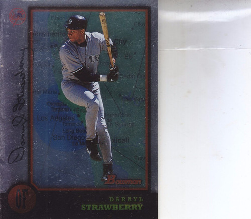 1998 bowman international darryl strawberry of yankees