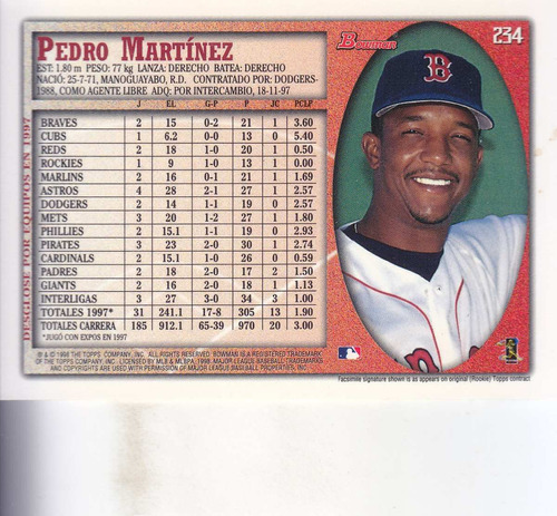 1998 bowman international pedro martinez p red sox