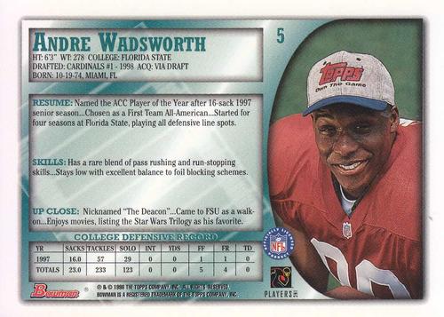 1998 bowman rookie andre wadsworth de cardinals