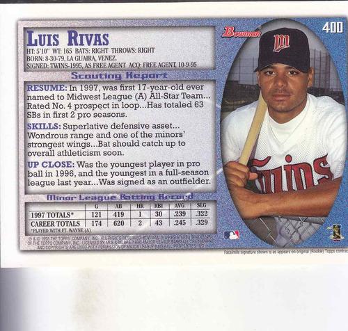1998 bowman rookie luis rivas ss twins