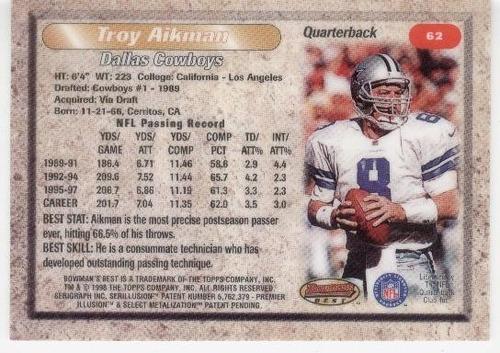 1998 bowman's best troy aikman dallas cowboys qb