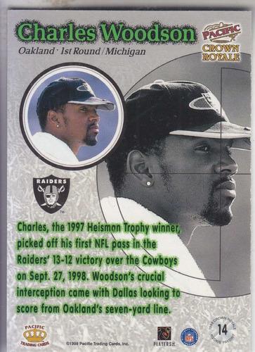 1998 crown royale rookie paydirt charles woodson raiders