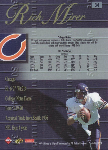 1998 edge advantage silver rick mirer qb bears