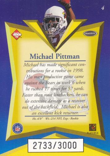 1998 edge masters rookie michael pittman rb cardinals /3000